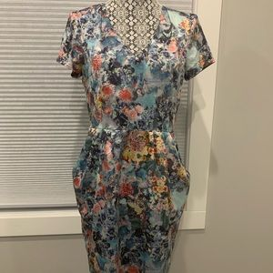 Floral Satin Cocktail Dress with Pockets!